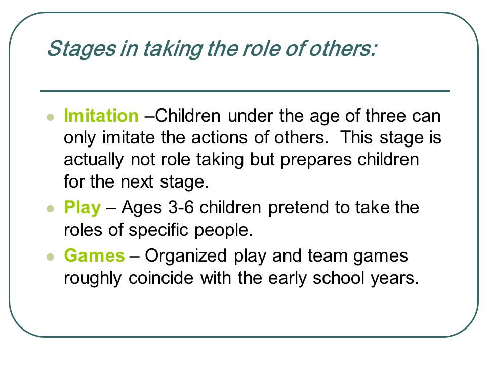 Stages in taking the role of others: