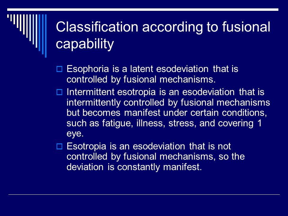 Classification according to fusional capability
