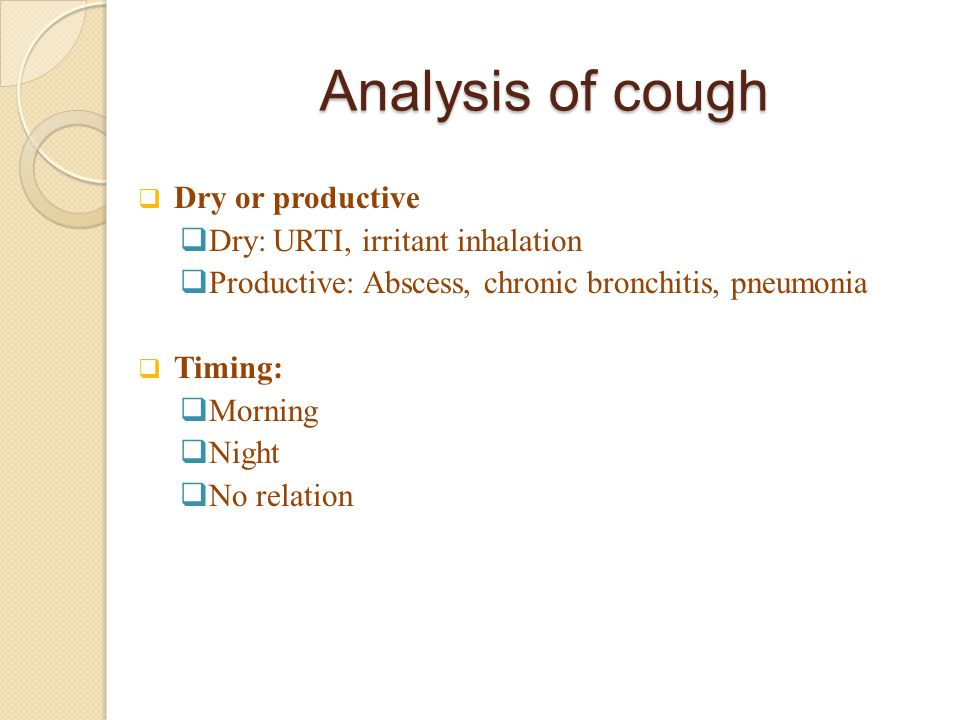 Analysis of cough Dry or productive Dry: URTI, irritant inhalation
