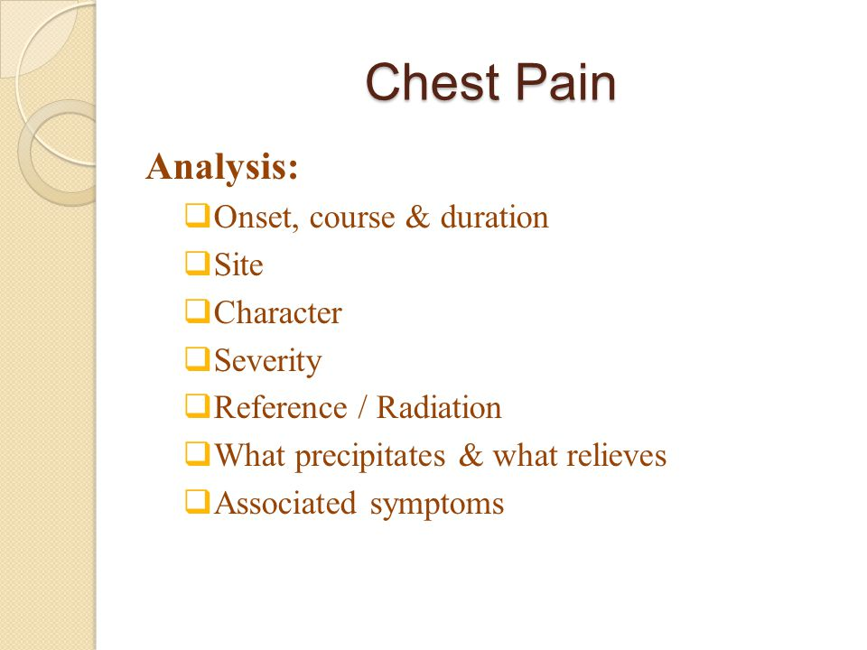 Chest Pain Analysis: Onset, course & duration Site Character Severity