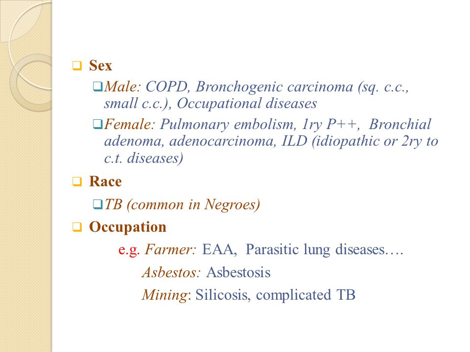 Sex Male: COPD, Bronchogenic carcinoma (sq. c.c., small c.c.), Occupational diseases.
