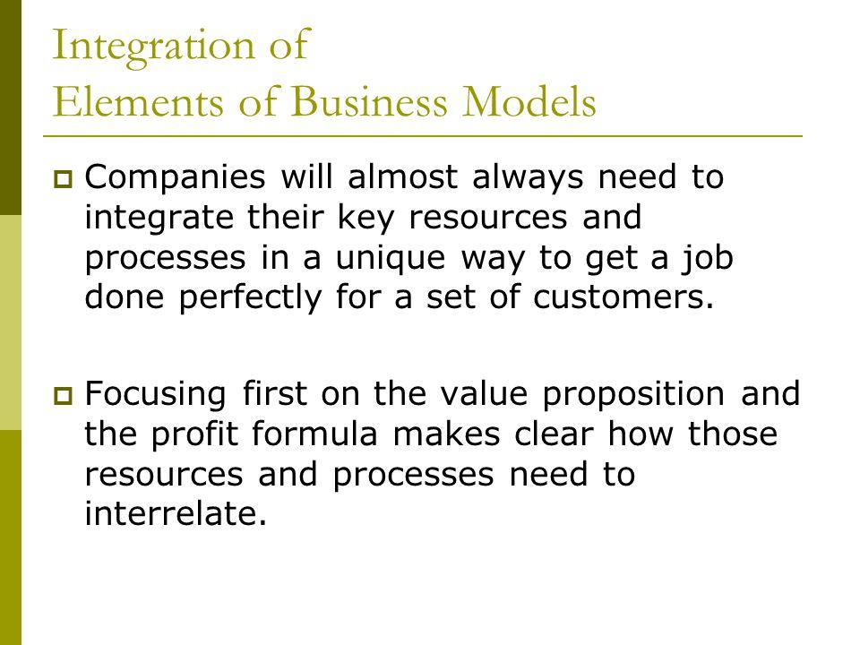 Integration of Elements of Business Models