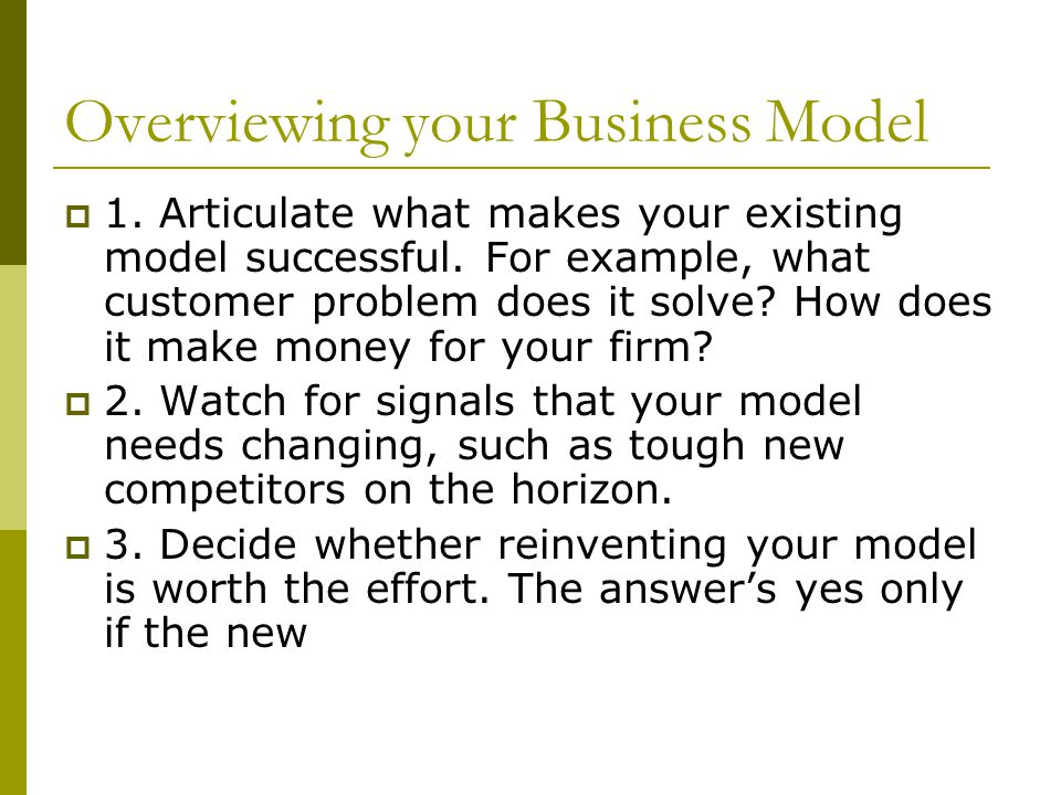 Overviewing your Business Model