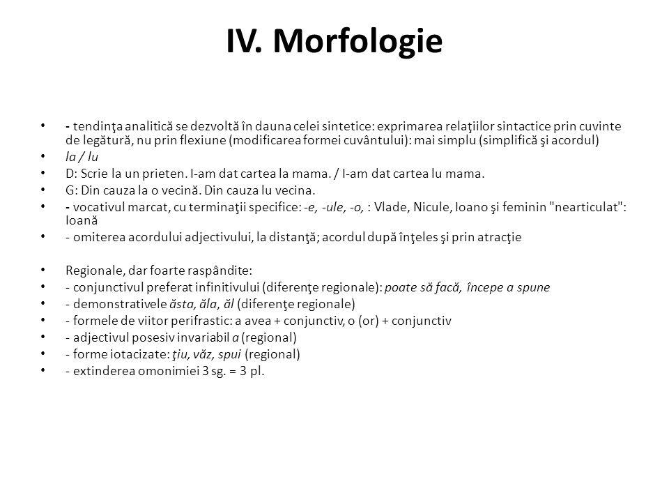 IV. Morfologie