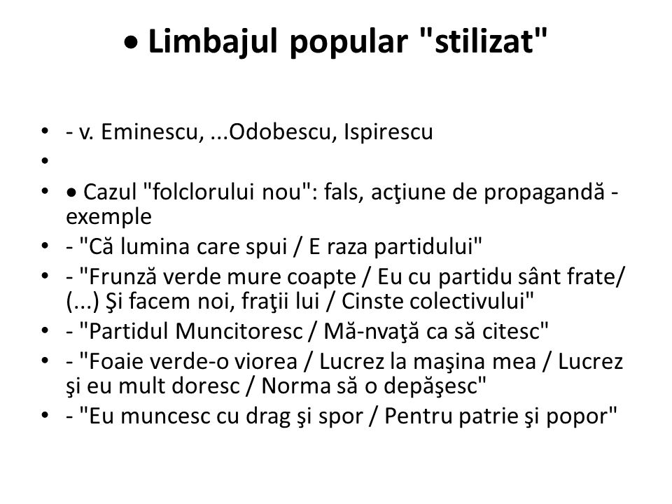  Limbajul popular stilizat
