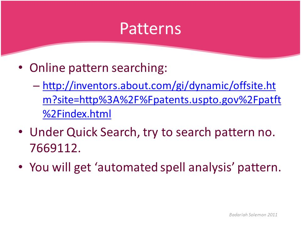 Patterns Online pattern searching: