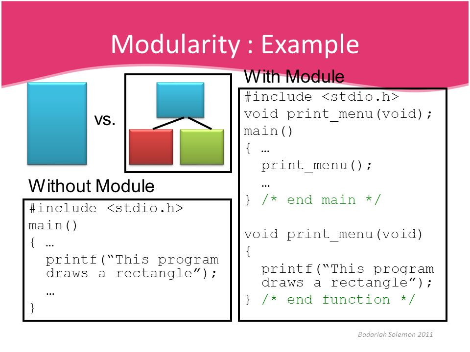 Modularity : Example x With Module vs. Without Module