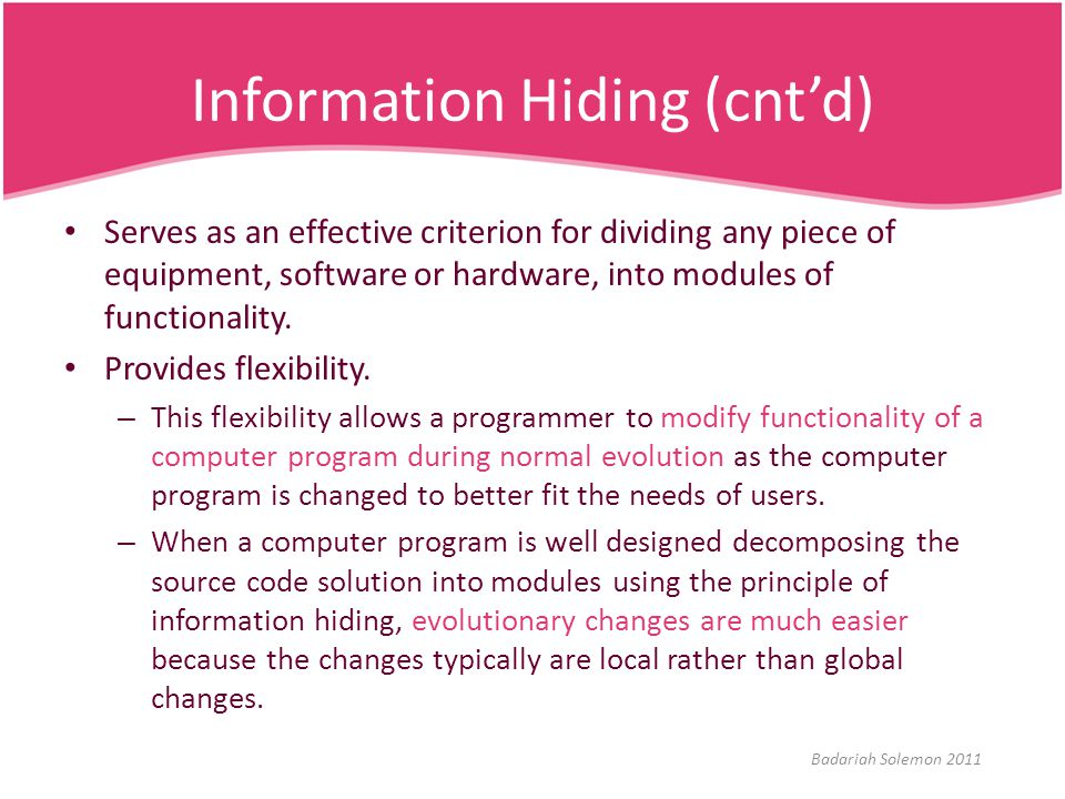 Information Hiding (cnt'd)