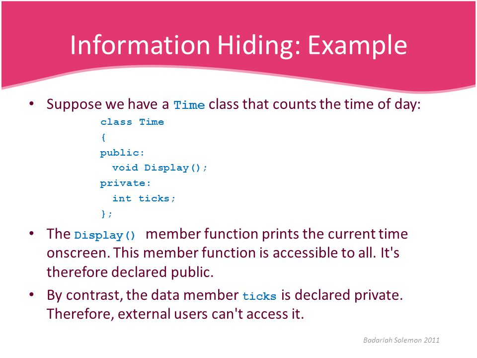 Information Hiding: Example