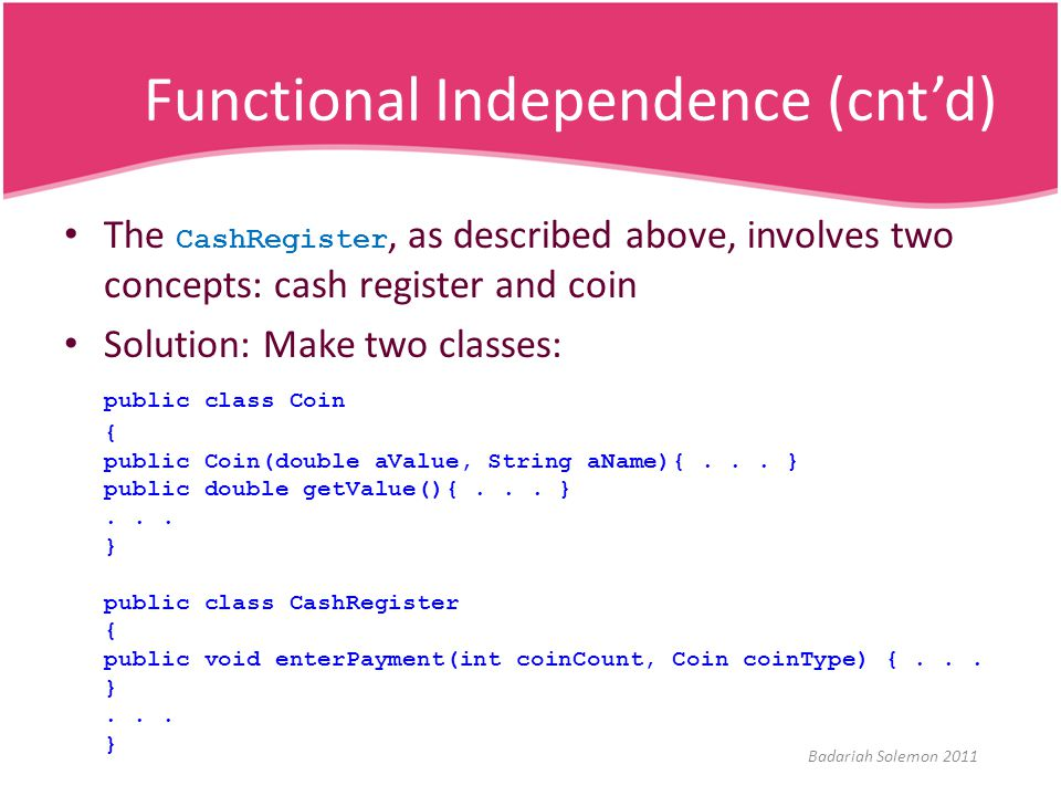 Functional Independence (cnt'd)