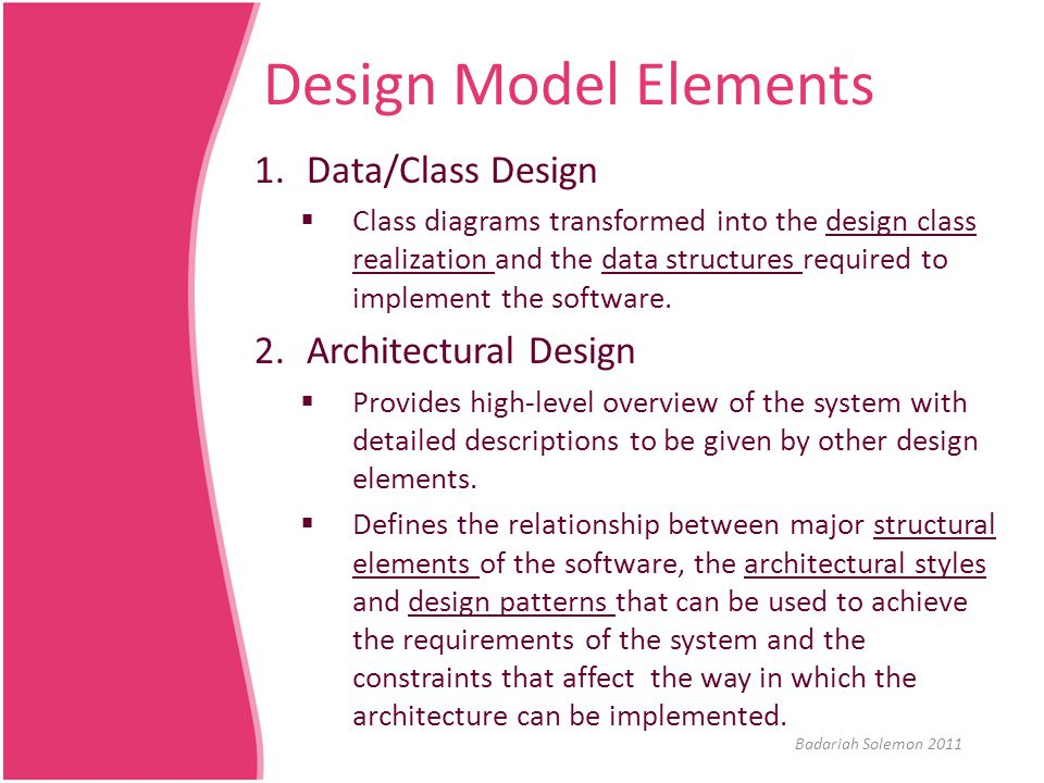 Design Model Elements Data/Class Design Architectural Design