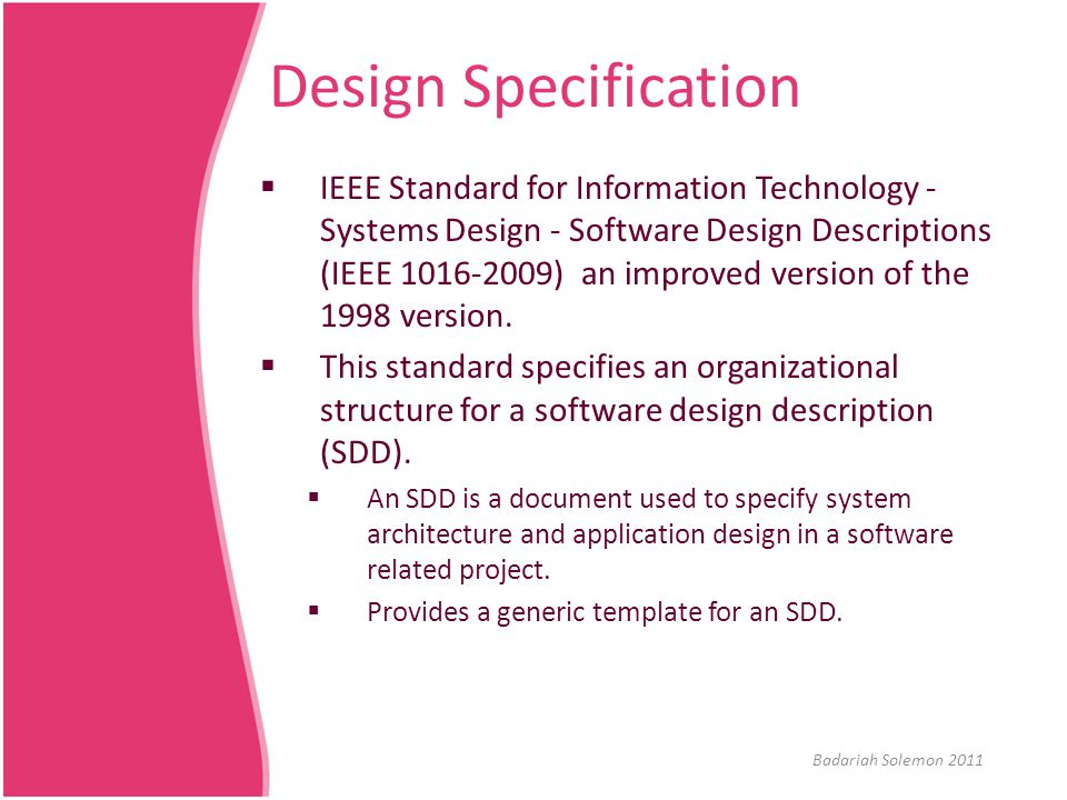 Cseb233 fundamentals of software engineering ppt video for Sdd template ieee