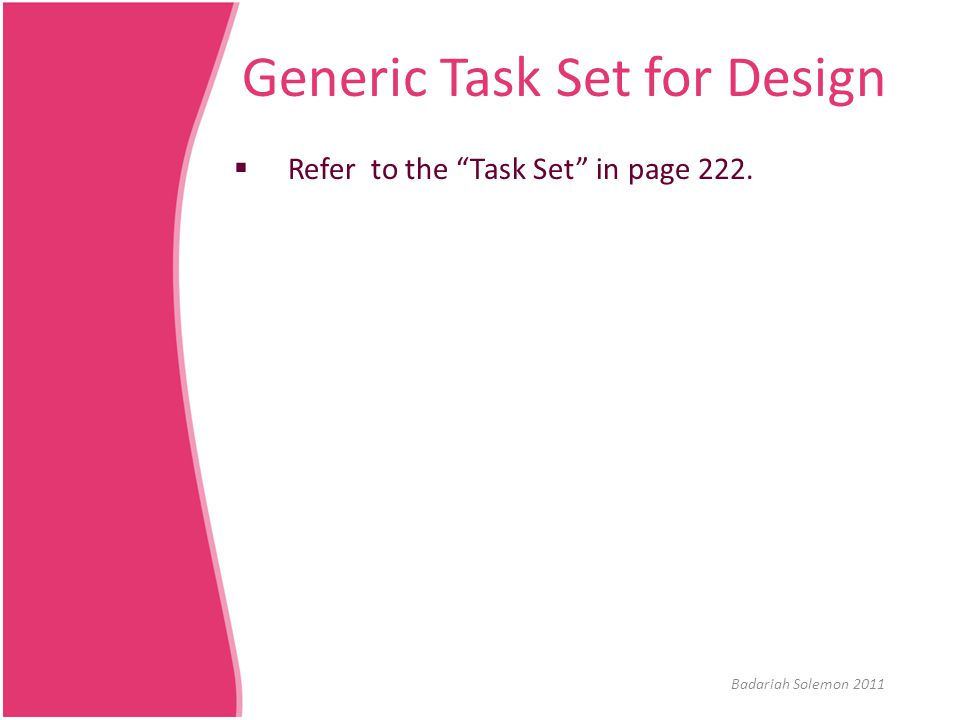 Generic Task Set for Design