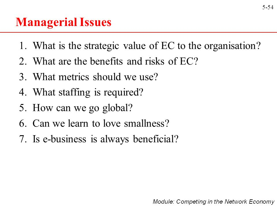 Managerial Issues 1. What is the strategic value of EC to the organisation 2. What are the benefits and risks of EC