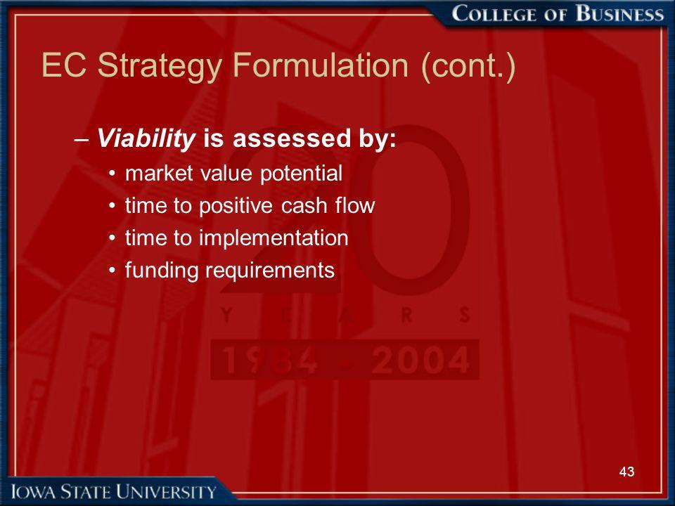 EC Strategy Formulation (cont.)