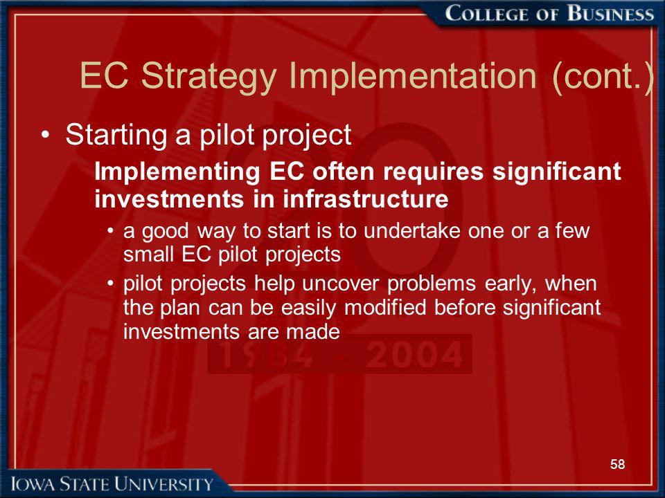 EC Strategy Implementation (cont.)