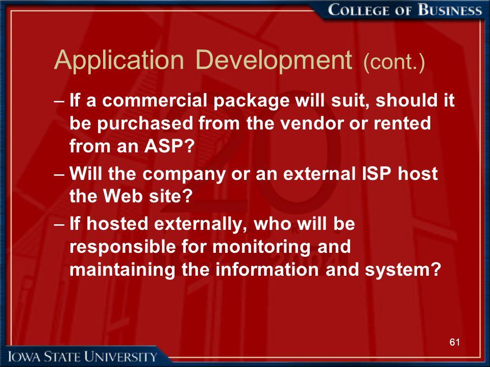Application Development (cont.)