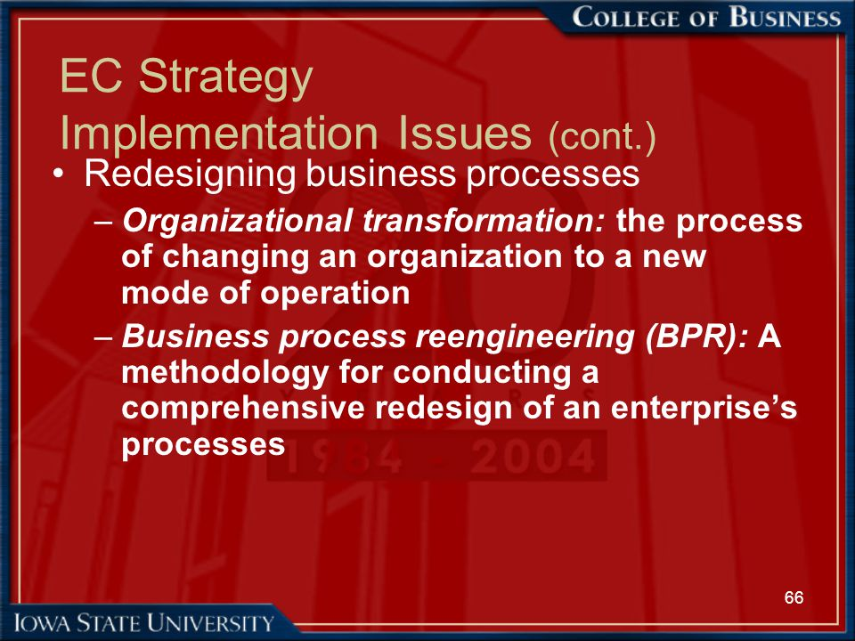 EC Strategy Implementation Issues (cont.)