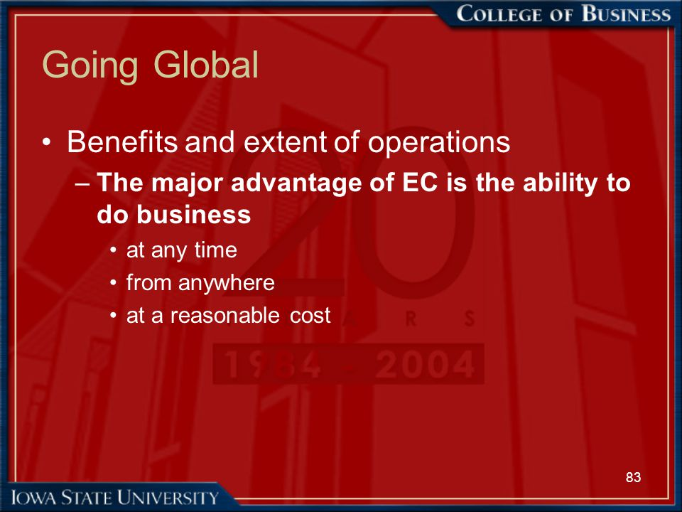 Going Global Benefits and extent of operations