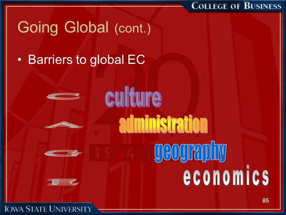 Going Global (cont.) culture C A G E administration geography