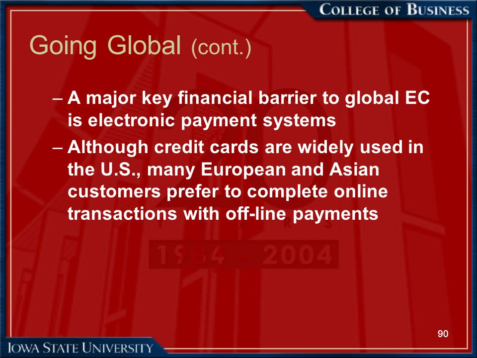 Going Global (cont.) A major key financial barrier to global EC is electronic payment systems.