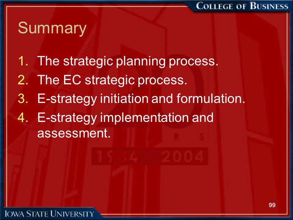 Summary The strategic planning process. The EC strategic process.