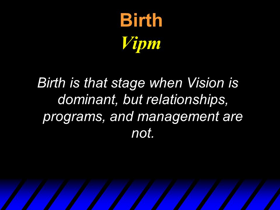 Birth Vipm Birth is that stage when Vision is dominant, but relationships, programs, and management are not.
