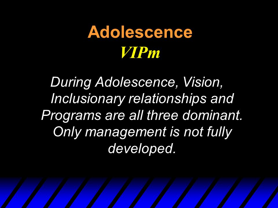 Adolescence VIPm During Adolescence, Vision, Inclusionary relationships and Programs are all three dominant.