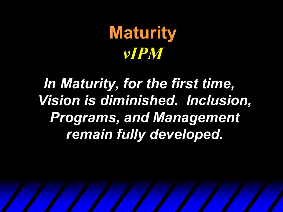 Maturity vIPM In Maturity, for the first time, Vision is diminished.
