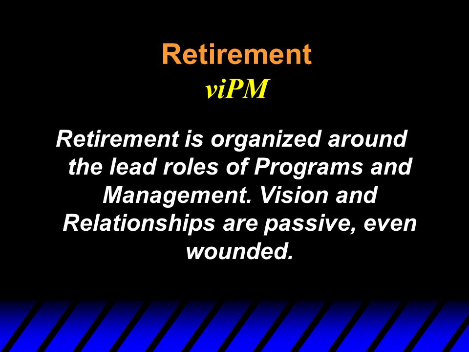 Retirement viPM Retirement is organized around the lead roles of Programs and Management.