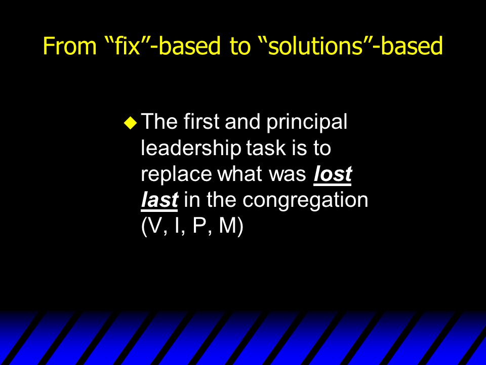 From fix -based to solutions -based