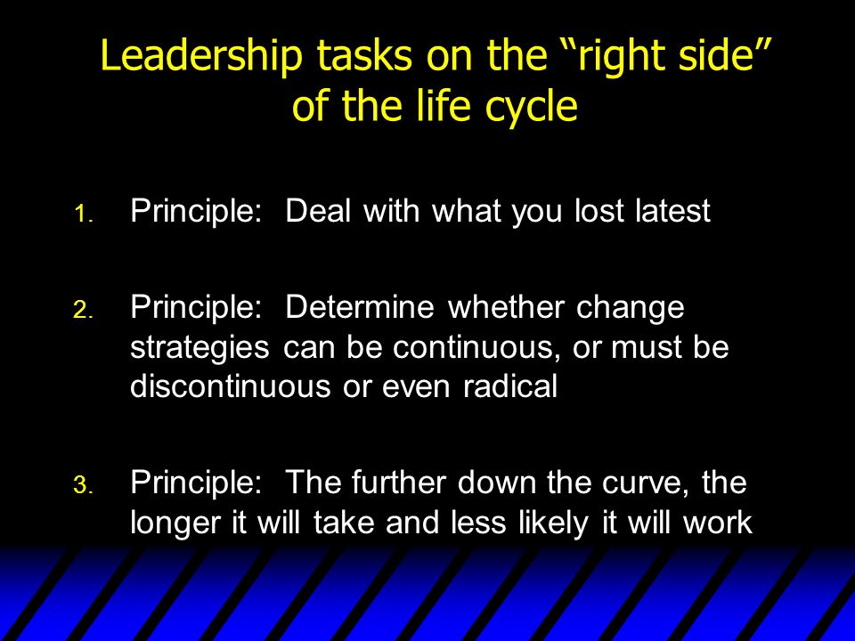 Leadership tasks on the right side of the life cycle