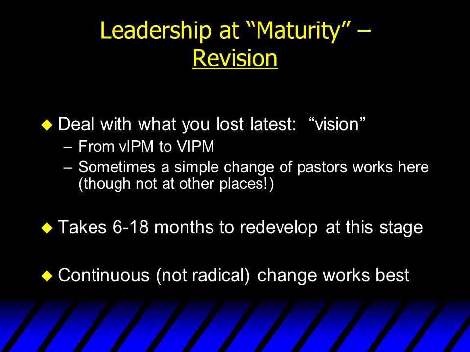 Leadership at Maturity – Revision