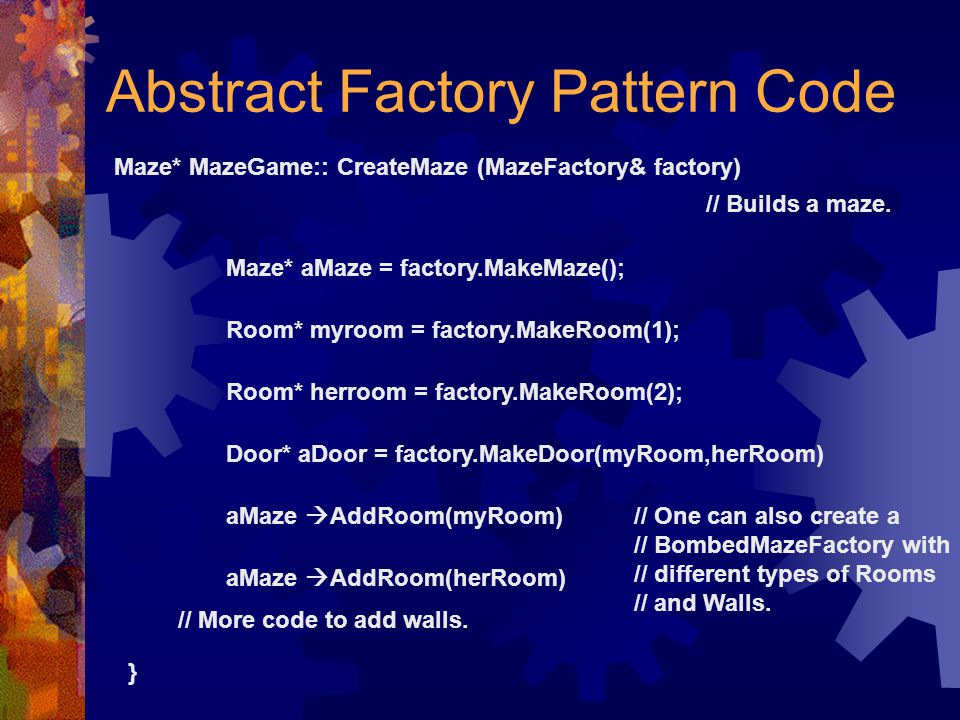 Abstract Factory Pattern Code