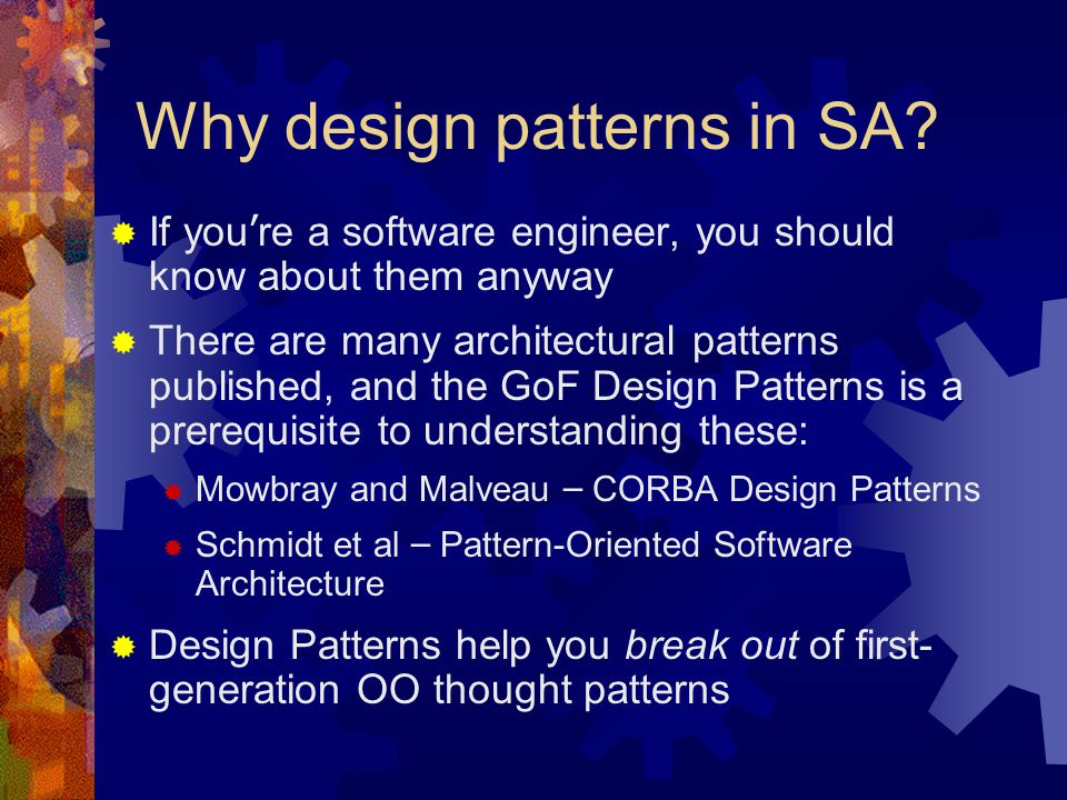 Why design patterns in SA