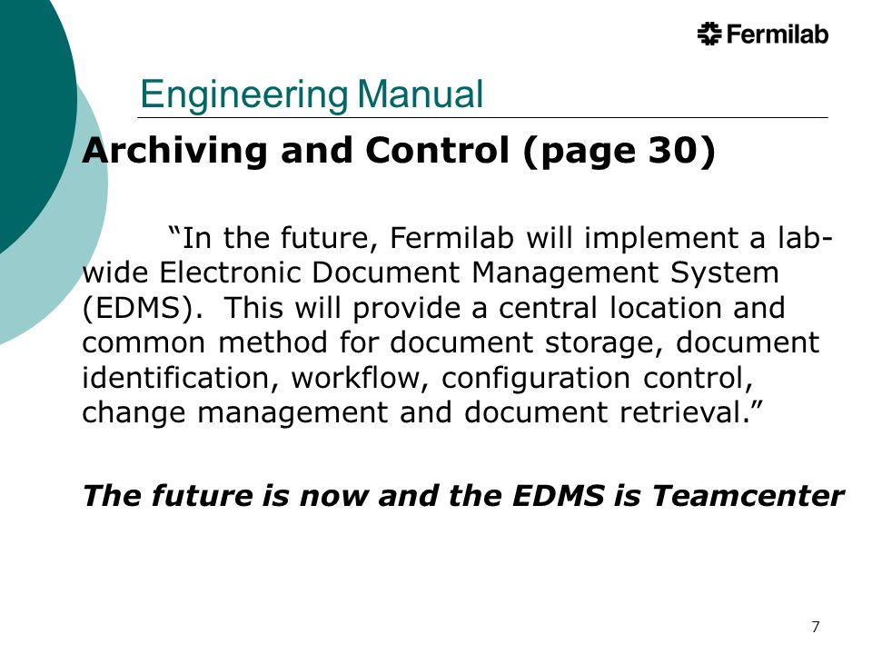 Engineering Manual Archiving and Control (page 30)