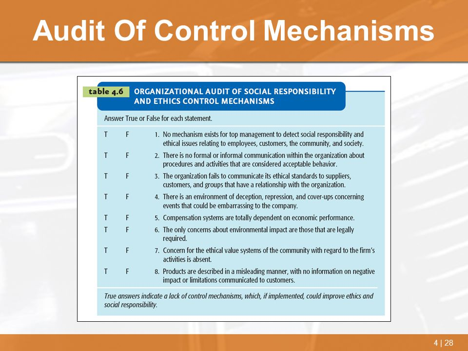 Audit Of Control Mechanisms