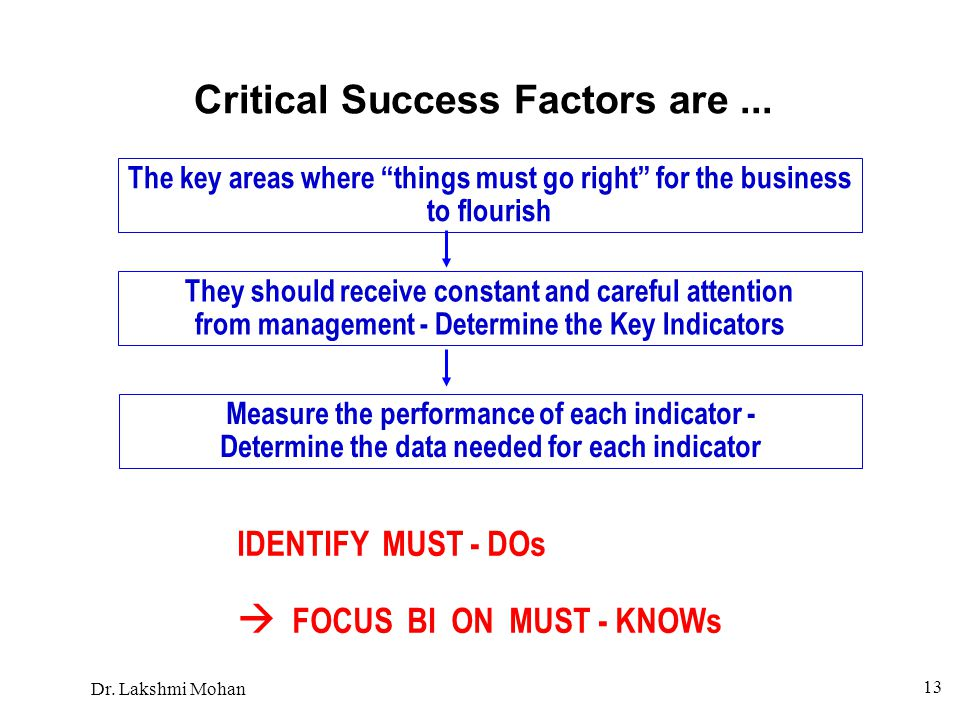 Critical Success Factors are ...