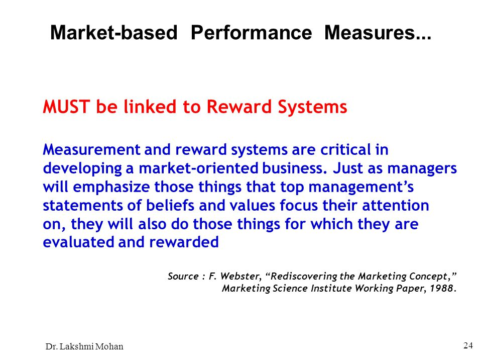 Market-based Performance Measures...