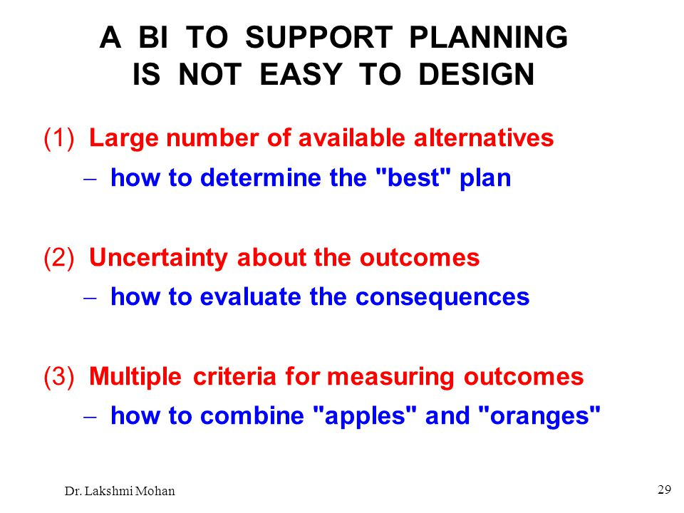 A BI TO SUPPORT PLANNING IS NOT EASY TO DESIGN