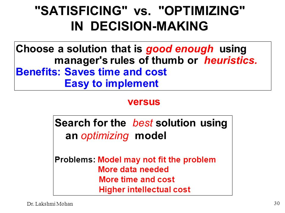 SATISFICING vs. OPTIMIZING IN DECISION-MAKING