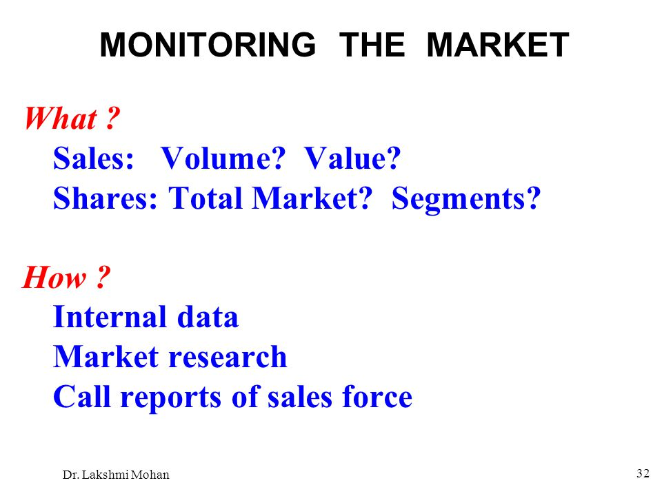 MONITORING THE MARKET What Sales: Volume Value