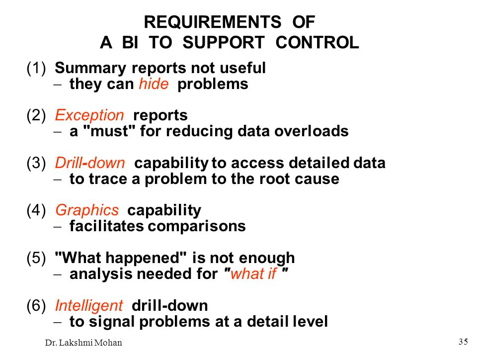 REQUIREMENTS OF A BI TO SUPPORT CONTROL