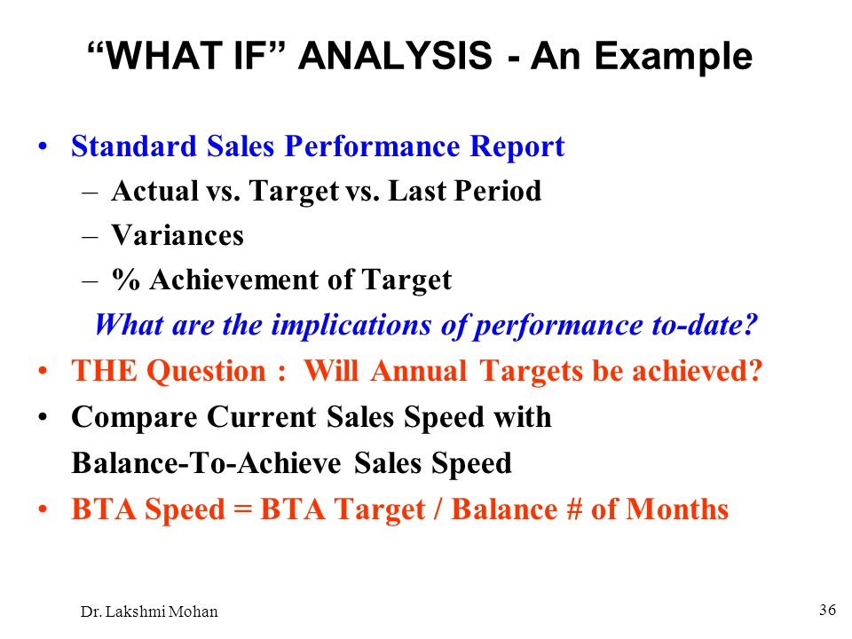 WHAT IF ANALYSIS - An Example