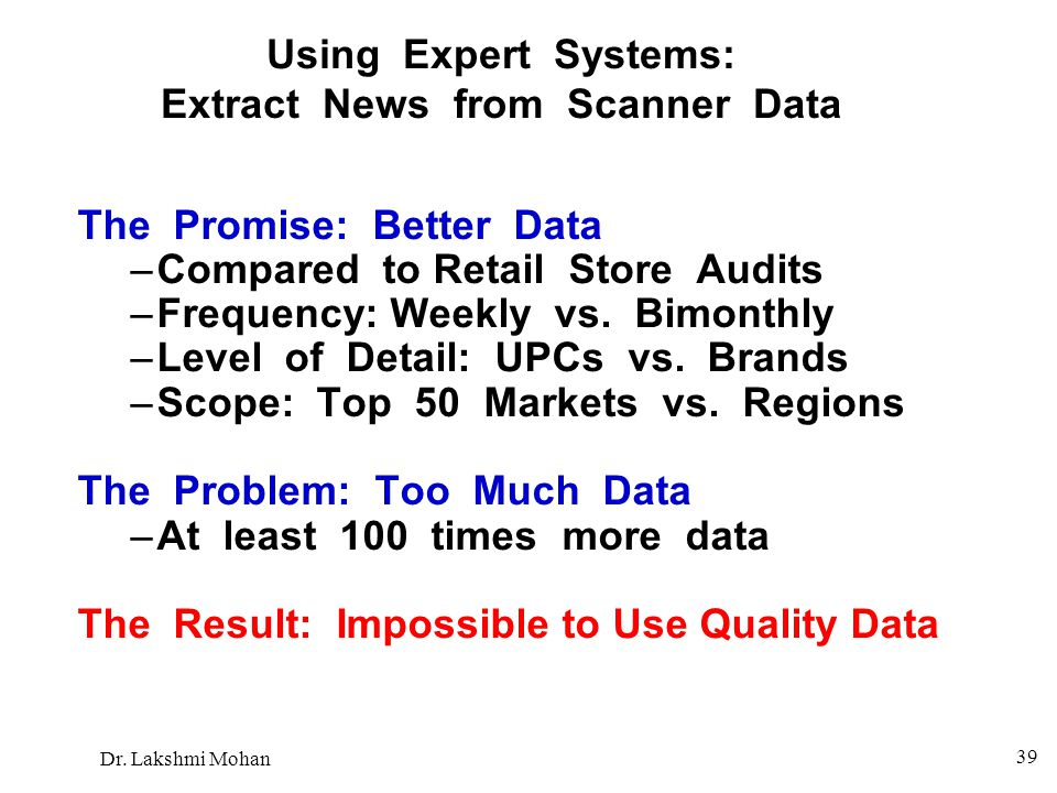 Using Expert Systems: Extract News from Scanner Data
