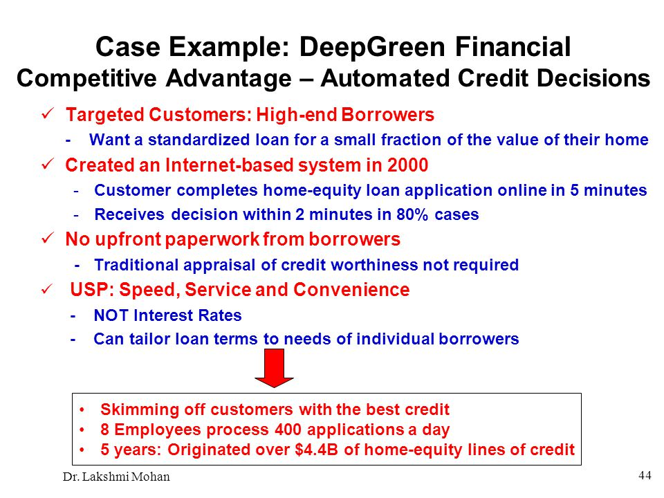 Case Example: DeepGreen Financial Competitive Advantage – Automated Credit Decisions
