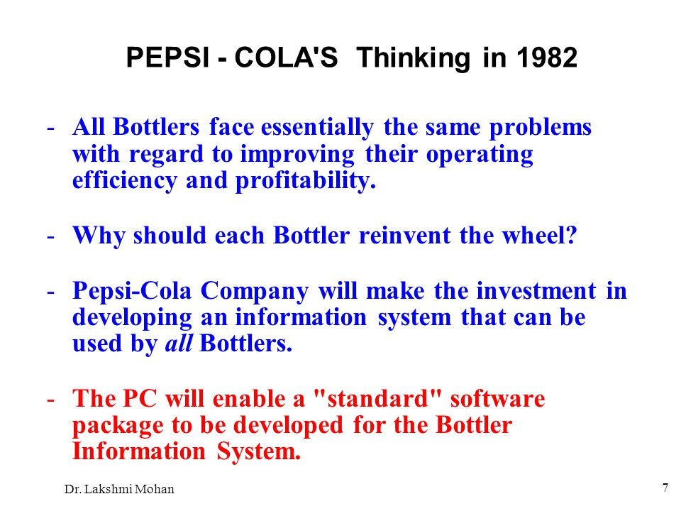 PEPSI - COLA S Thinking in 1982