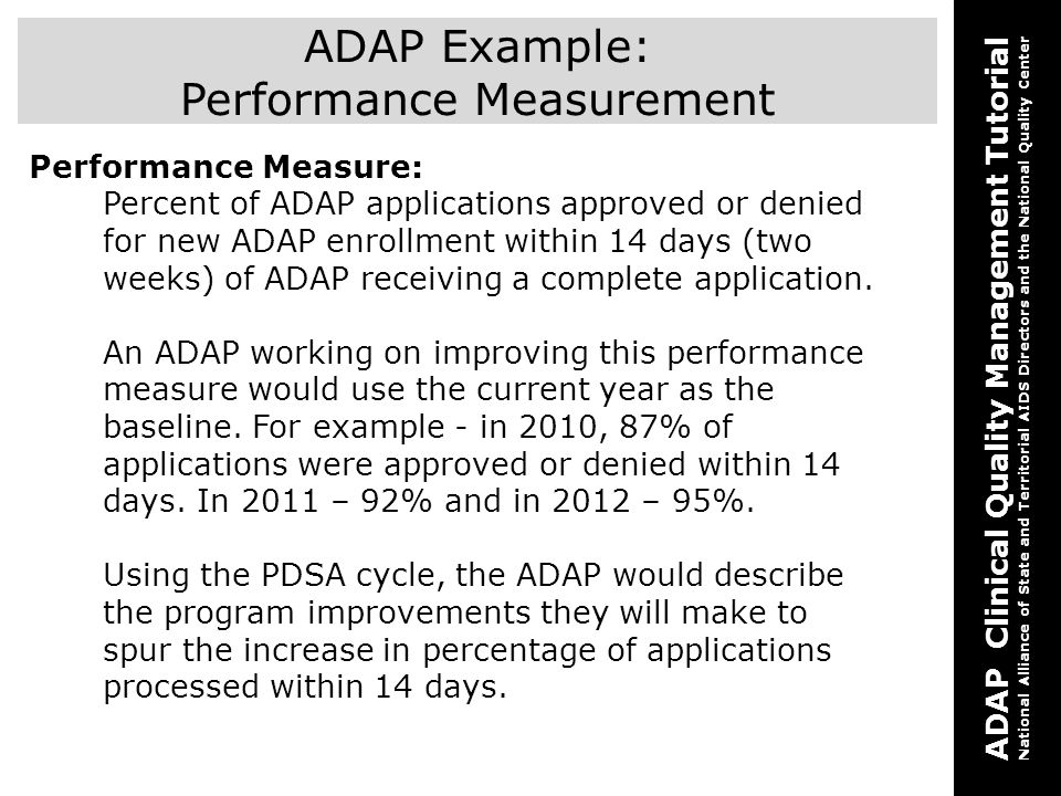 ADAP Example: Performance Measurement