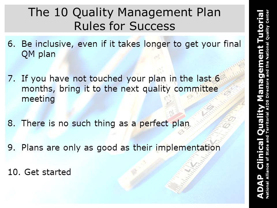 The 10 Quality Management Plan Rules for Success