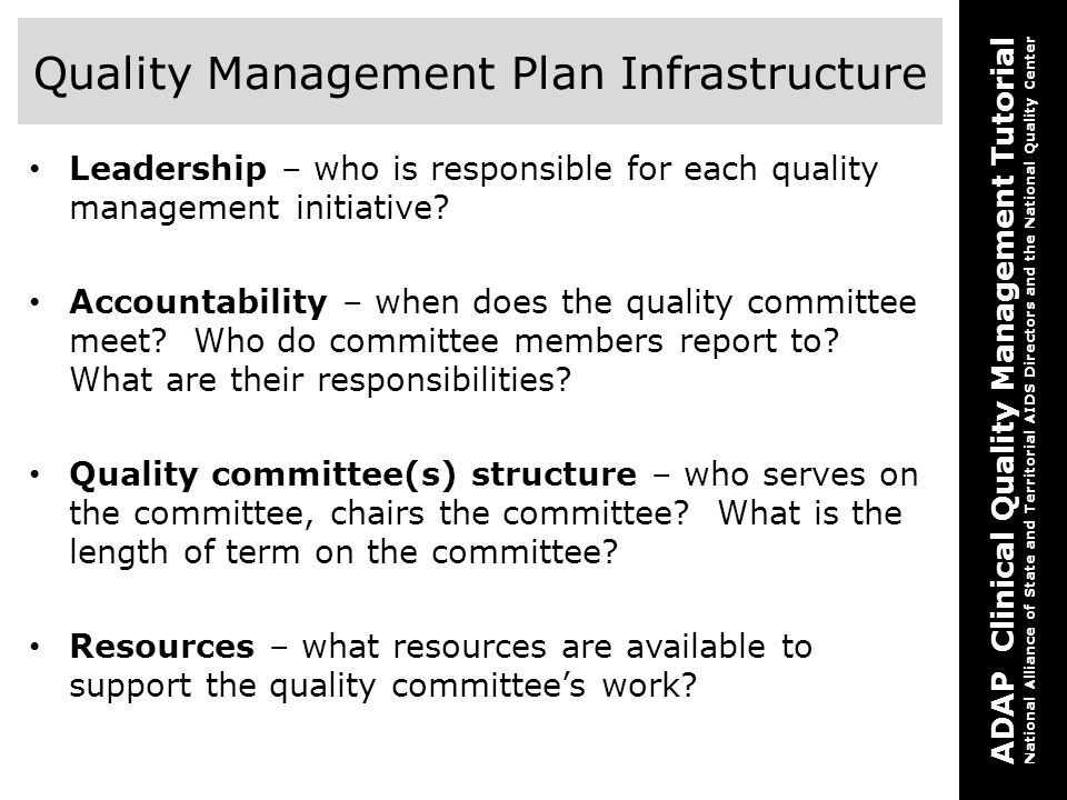 Quality Management Plan Infrastructure
